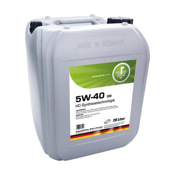 REKTOL 5W-40 SN 20л  Моторное масло